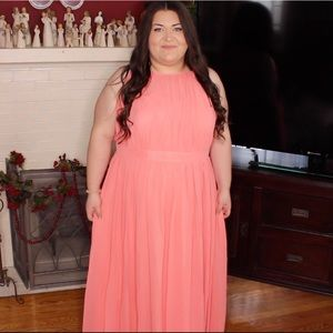 Coral pink gown dress size 26 fits 22/24